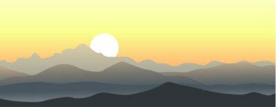Väggdekor Vacker solnedgång i fjällen. Horisontella vektor landskap.