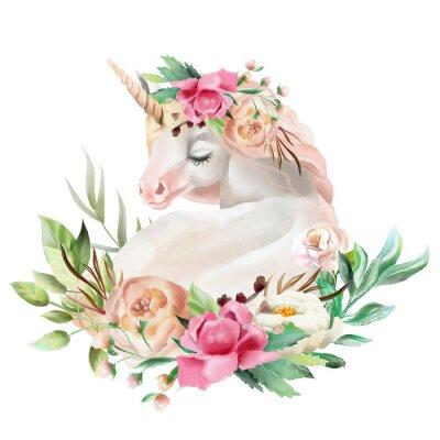 Väggdekor Vacker, söt, akvarell dröm enhörning med blommor, blommig bukett isolerad på vitt
