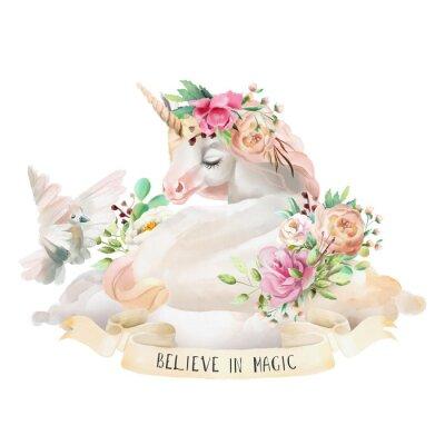 Väggdekor Vacker, söt, akvarell drömma enhörning på molnet med blommor, blommig bukett, duva och band med citat isolerat på vitt