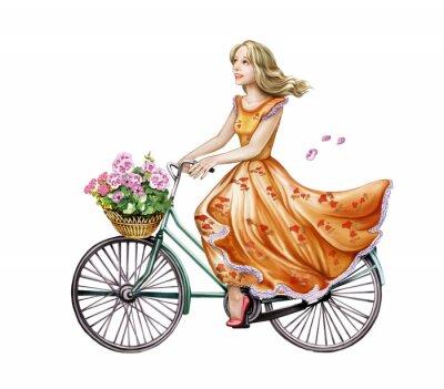 Väggdekor vacker tjej i en klänning på en cykel