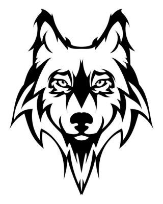 Väggdekor Vacker varg tattoo.Vector varg huvud som ett designelement på isolerad bakgrund