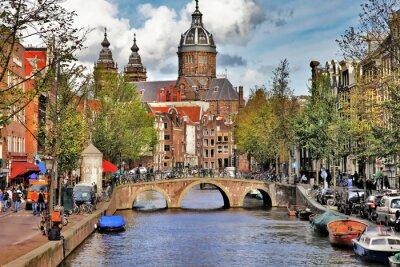 Väggdekor vackra Amsterdams kanaler