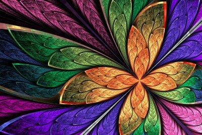 Väggdekor Vackra flerfärgad fractalblomma eller fjäril i målat gl