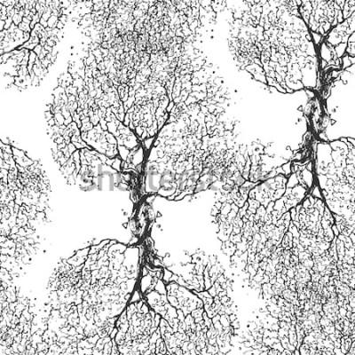 Väggdekor Vackra grenar träd utan löv. Sömlös konsistens. Upprepat mönster. Höstträd. Bra originalbakgrund för din blogg.