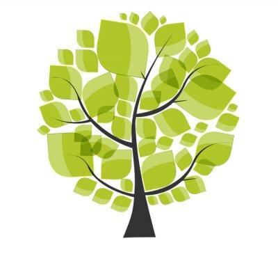 Väggdekor Vackra gröna träd på en vit bakgrund vektorillustration.