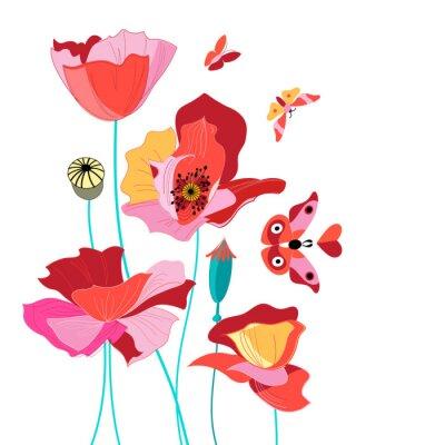 Väggdekor Vackra kort med vallmo