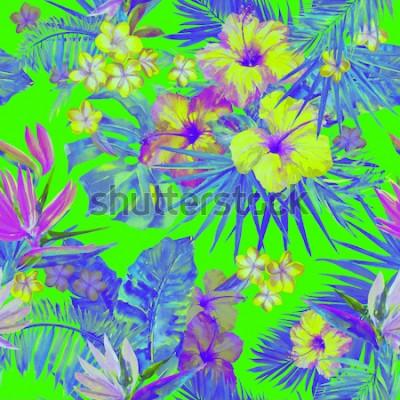 Väggdekor Vackra tropiska mönster med måla blommor hibiskus och paradisfågel. Söt målad tropisk illustration med plumeria, palmblad och bananblad. Tropisk bakgrund för grön neonfärg.