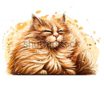 Väggdekor Väggklistermärke. Färgen, den grafiska, konstnärliga ritningen av en söt fluffig katt myser ganska i solen på en vit bakgrund med en spray av akvarell.