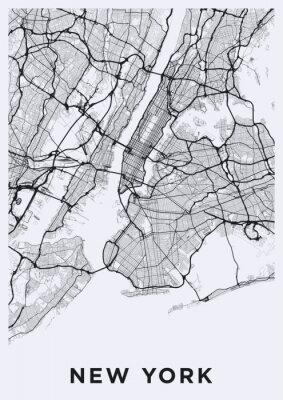 Väggdekor Vägkarta över New York (USA). Transportnätet för Big Apple.