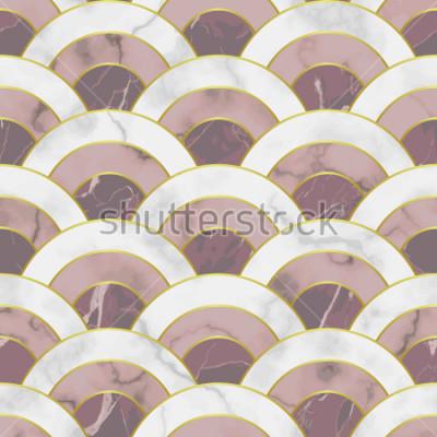 Väggdekor Vågmarmor sömlösa mönster. Abstrakt geometrisk repetitionsbakgrund. Asiatisk traditionell bakgrund, lyxig tapet med gyllene linjer, rosa och vitt textiltryck, inredningskakel.