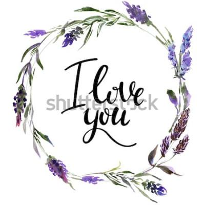 Väggdekor Valentine Flower Krans. Akvarell blommaillustration med inskriptionen älskar jag dig