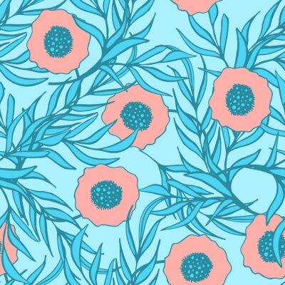 Väggdekor Vallmo blomma vektor seamless. Räcka utdraget klotter bläck blomtextilmaterial tryck. Korall röd vallmo och blå gren blad naturlig design.