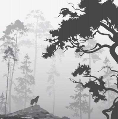 Väggdekor varg i skogen