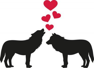 Väggdekor Vargar i kärlek