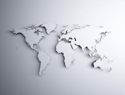Väggdekor Världskarta 3D