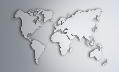 Väggdekor Världskarta. Bild med urklippsbana