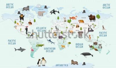 Väggdekor världskarta djur för barnrum tapeter