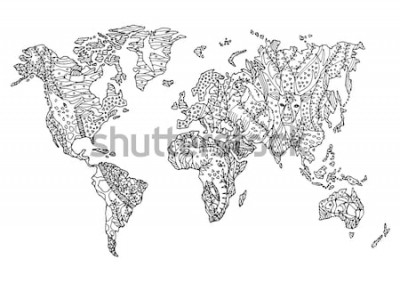 Väggdekor världskarta djur vilda djur blomma blommig teckning design vektor illustration handritad