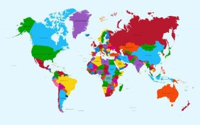 Väggdekor Världskarta, färgstarka länder atlas eps10 vektor fil.
