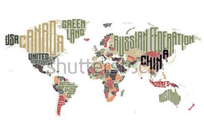 Väggdekor Världskarta gjord av typografiska landnamn. Vektor illustration.