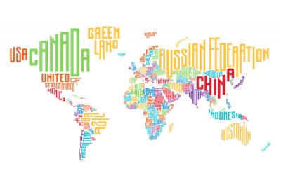 Väggdekor Världskarta gjord av typografiska landsnamn