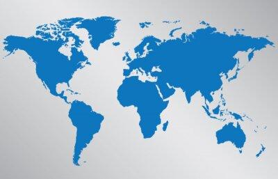 Väggdekor Världskarta illustration på grå bakgrund