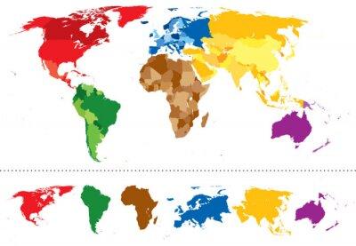 Väggdekor Världskarta kontinenter mångfärgad