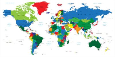 Väggdekor Världskarta-länder
