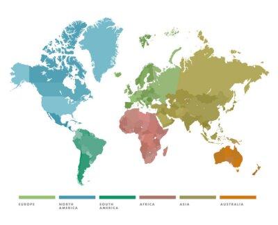 Väggdekor Världskarta med kontinenten i olika färger