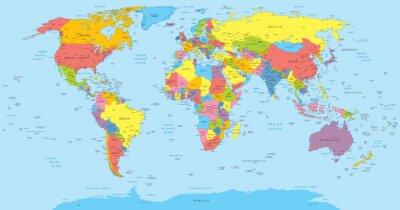 Väggdekor världskarta med länder, land och stadsnamn