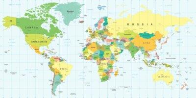 Väggdekor Världskarta - mycket detaljerade vektorillustration.