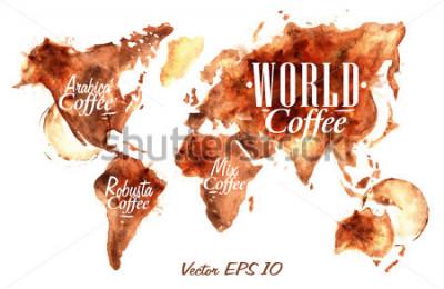Väggdekor Världskarta över draget häll kaffe med inskriptioner arabica, robusta, blanda med stänk och blottar tryckkopp.