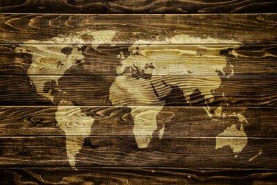 Väggdekor Världskarta på trä bakgrund