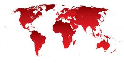 Väggdekor Världskarta röda kontinenter