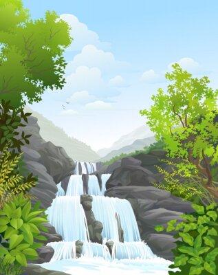 Väggdekor Vattenfall i tropisk regnskog