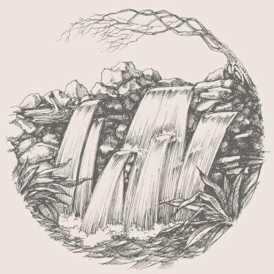 Väggdekor Vattenfall runda ritning
