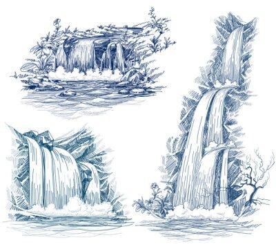 Väggdekor Vattenfall vector drawing