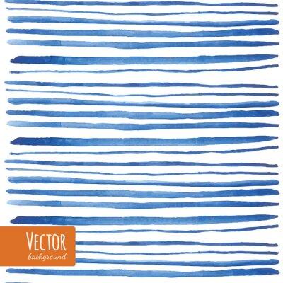 Väggdekor Vattenfärg blå remsorna i vektorn.