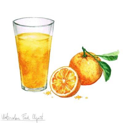 Väggdekor Vattenfärg Food Clipart - Apelsinjuice isolerat på vit