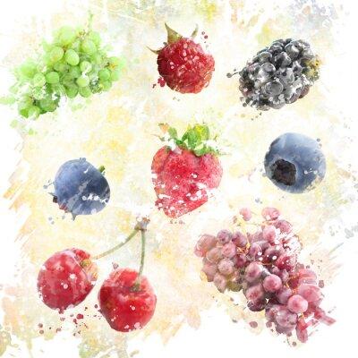 Väggdekor Vattenfärg Frukter Bakgrund