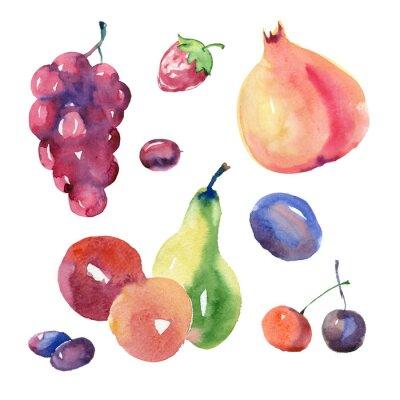 Väggdekor vattenfärg fruktsättning