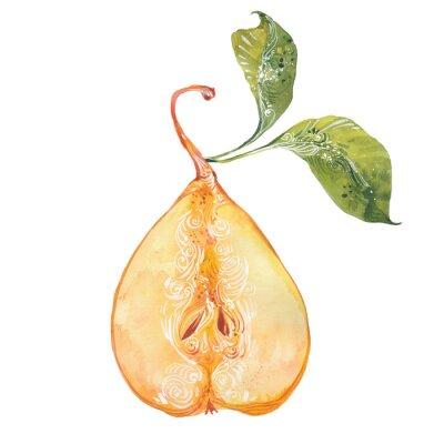 Väggdekor vattenfärg gul pear