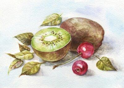 Väggdekor vattenfärg körsbär och kiwi