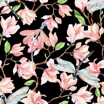 Väggdekor vattenfärg magnolia grenar och slända