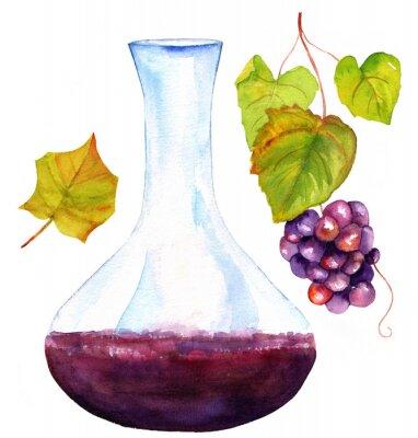 Väggdekor Vattenfärg ritningar av vin karaff, vinblad och vindruvor