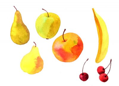 Väggdekor vattenfärg ritnings frukter