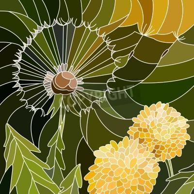Väggdekor Vector abstrakt mosaik med stora celler av grupp maskros på grönt.