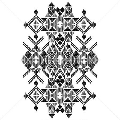 Väggdekor Vector black and white decorative ethnic pattern. American indian motifs. Hand drawn background, aztec tribal ornament. Print for fashion, textile, paper and cover. Line illustration