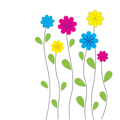 Väggdekor Vector blommig bakgrund med hjärtan