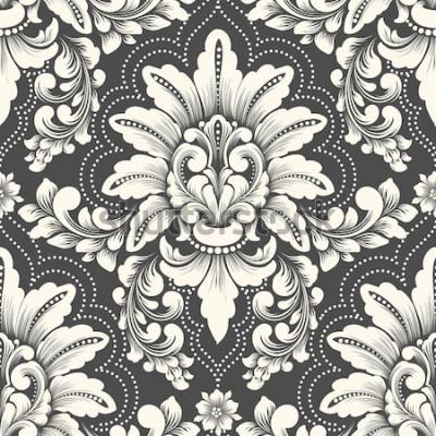 Väggdekor Vector damast sömlösa mönsterelement. Klassisk lyxig gammaldags damastprydnad, kunglig viktoriansk sömlös textur för tapeter, textil, inslagning. Utsökt blommig barock mall.